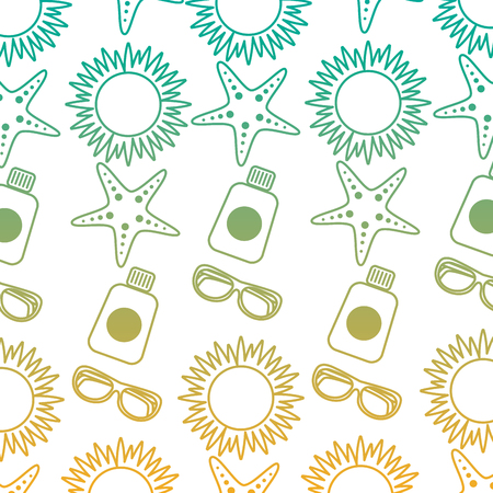 A beach vacations sun sunglasses sunblock bottle starfish pattern vector illustration 向量圖像