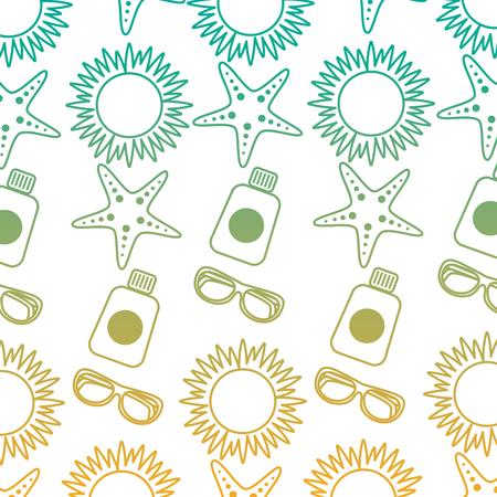 A beach vacations sun sunglasses sunblock bottle starfish pattern vector illustration Illustration