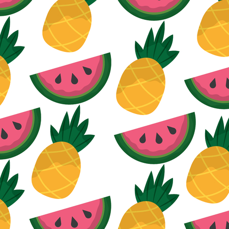 A pineapple and watermelon tropical fruit seamless pattern vector illustration Stock Illustratie