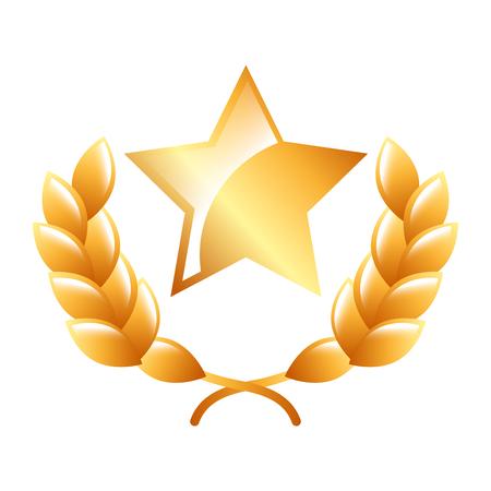 star award laurel premium winner emblem vector illustration Illustration