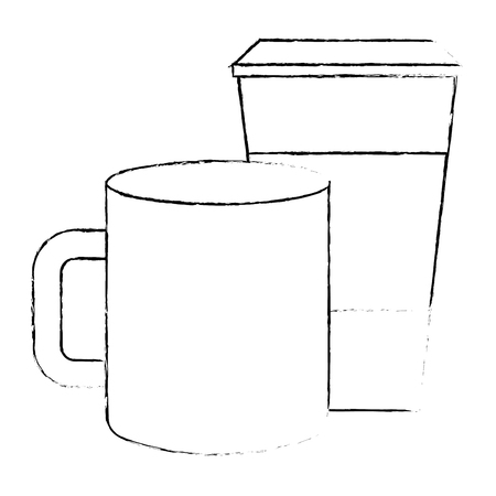 ceramic and paper coffee cup empty template for corporate identity vector illustration