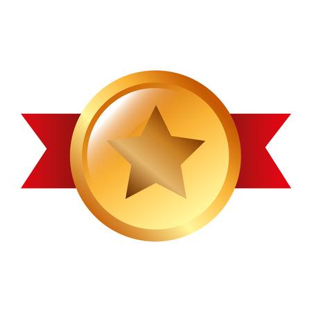 award badge ribbon star honor vector illustration