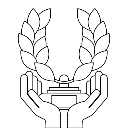 hands holding award branch laurel in pedestal vector illustration