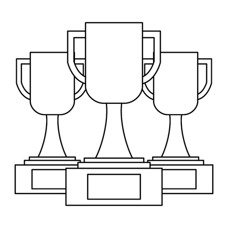 set of trophy cup award best competition vector illustration