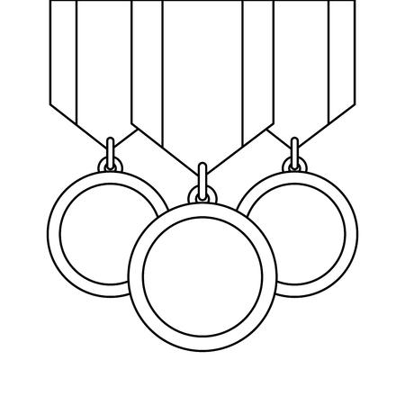 three medals awards ribbon sport honor vector illustration