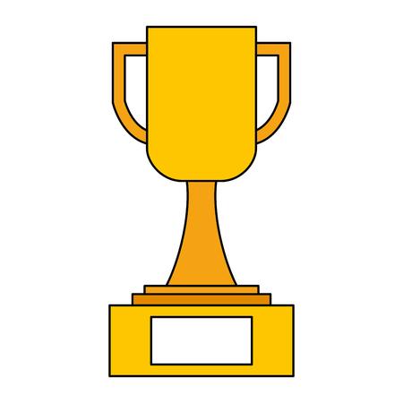 trophy award cup in pedestal image vector illustration Illustration