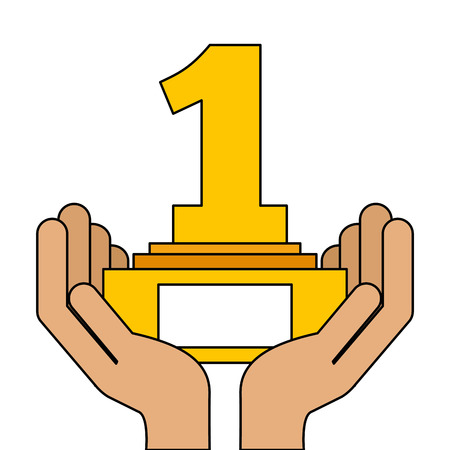 hands human with number one trophy award vector illustration design