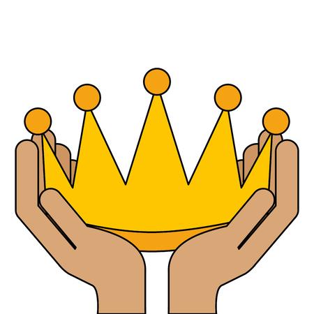 Mãos vencedoras com coroa isolado ícone vector ilustração design Foto de archivo - 91840612