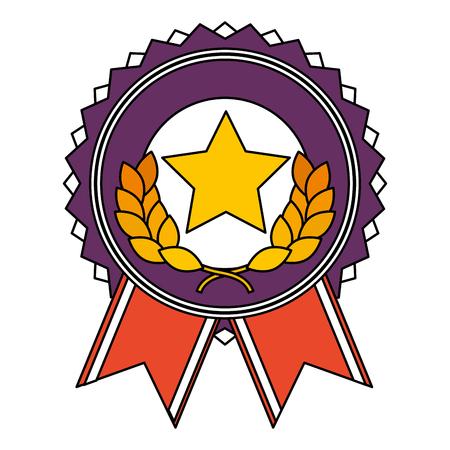 星と花輪ベクトルイラストデザインで優勝メダル
