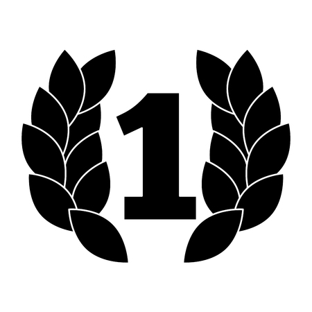number one with wreath trophy award vector illustration design Vettoriali