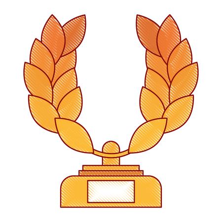 A trophy wreath leafs crown award vector illustration design