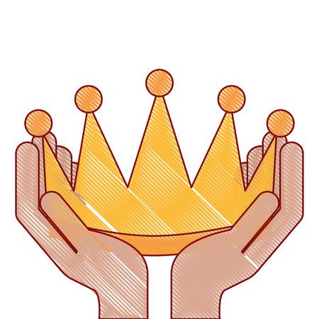 Mãos vencedoras com coroa isolado ícone vector ilustração design Foto de archivo - 91841148