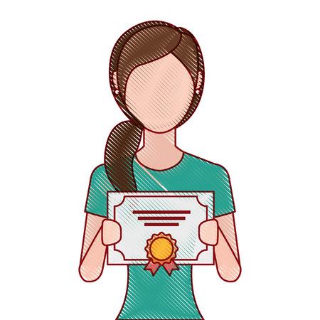 woman winner with diploma vector illustration design