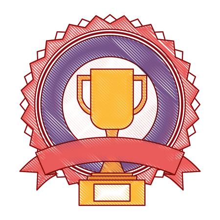 trophy cup winner emblem vector illustration design