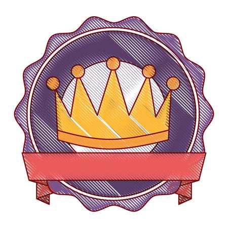 Ganador corona emblema icono vector ilustración diseño Foto de archivo - 91841362
