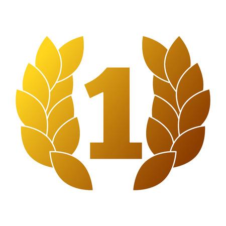 nummer één met krans trofee award vector illustratie ontwerp