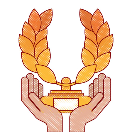 hands with trophy wreath leafs crown award vector illustration design
