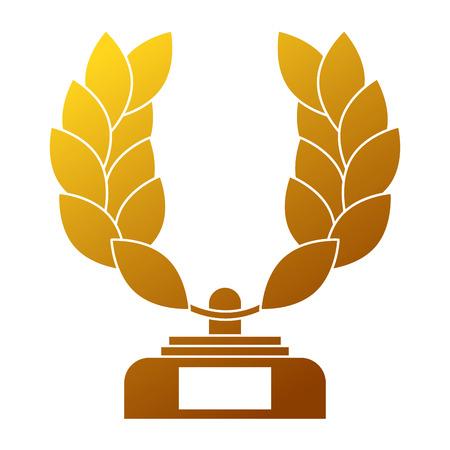 Trophy wreath leafs crown award illustration.