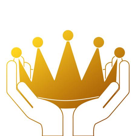 Mãos vencedoras com coroa isolado ícone vector ilustração design Foto de archivo - 91841490