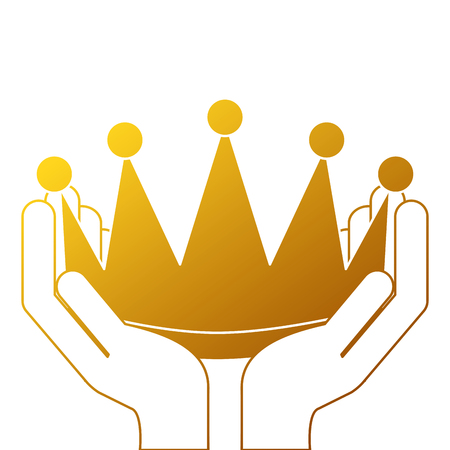 winner hands with crown isolated icon vector illustration design