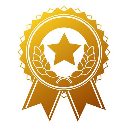 Medaglia del vincitore con progettazione dell'illustrazione di vettore della stella e della corona Archivio Fotografico - 91841588