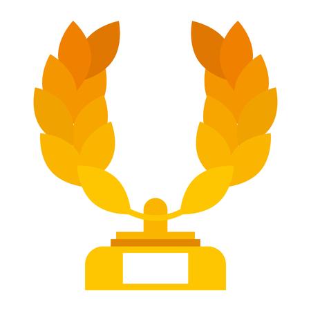 trophy wreath leafs crown award vector illustration design