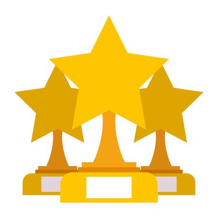 Star trophies winner icon illustration. Illustration