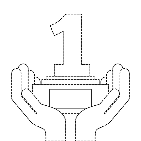 hands human with number one trophy award vector illustration design