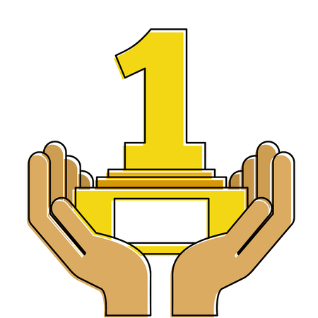 Hands human with number one trophy award illustration design.