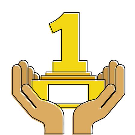 Handenmens met nummer één de illustratieontwerp van de trofeetoekenning.