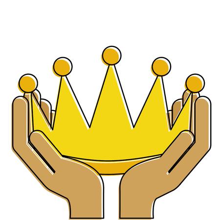 Manos del ganador con el diseño de ilustración de vector de icono aislado corona Foto de archivo - 91869544