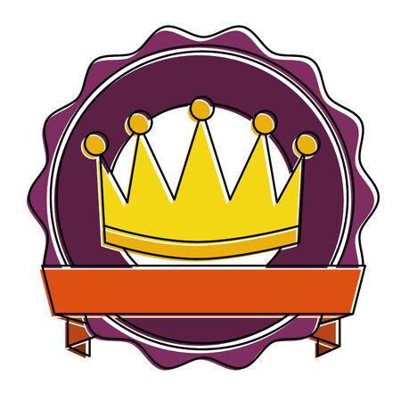 Winner crown emblem icon illustration design.