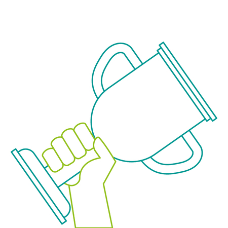 Hands human with trophy cup winner icon illustration design. Illustration