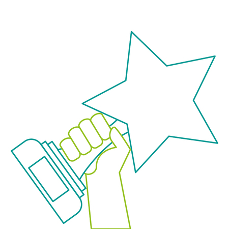 hands with star trophy winner icon vector illustration design 向量圖像