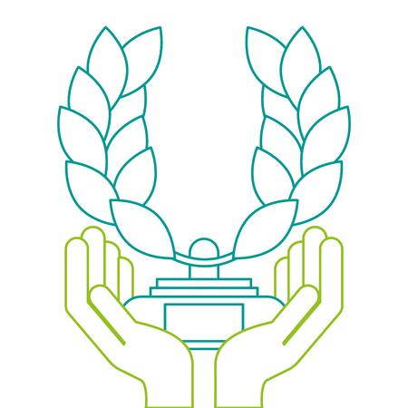 トロフィーの花輪が付いている手の葉冠賞ベクトル イラスト デザイン