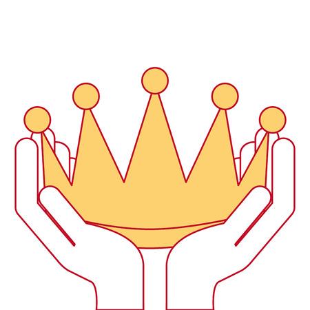 Mãos vencedoras com coroa isolado ícone vector ilustração design Foto de archivo - 91869607