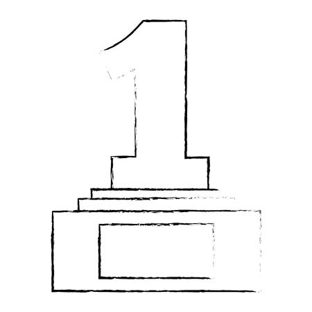 nummer één trofee award vector illustratie ontwerp