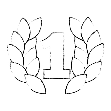 number one with wreath trophy award vector illustration design Ilustração