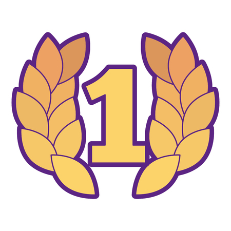 Number one with wreath trophy award illustration design. Ilustrace