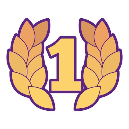 Nummer één met het ontwerp van de de toekenningsillustratie van de kroontrofee. Stock Illustratie