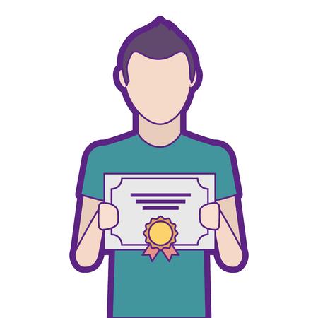 Man winner with diploma vector illustration design