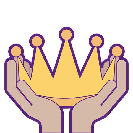 Las manos del ganador con la corona aislaron diseño del ejemplo del vector del icono Foto de archivo - 91855171