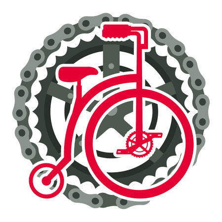 Retro bicycle with chain and sprocket vector illustration design