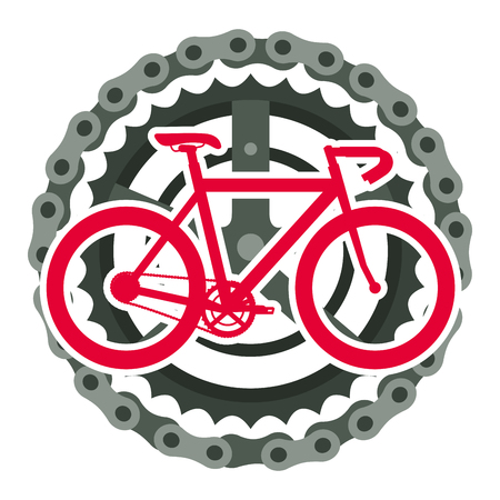 Racing bicycle with chain and sprocket vector illustration design