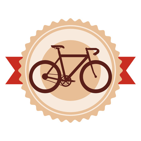 racing bicycle emblem with ribbon vector illustration design Illustration