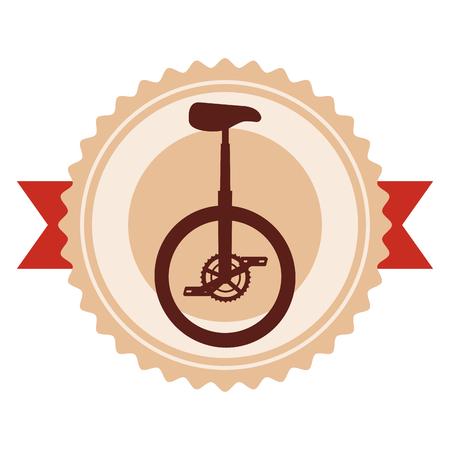 monocycle race emblem with ribbon vector illustration design