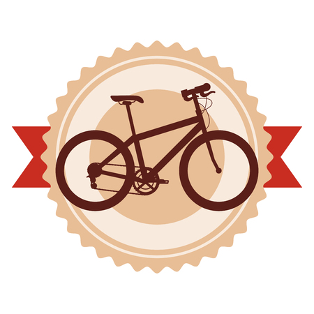 Sport bicycle emblem with ribbon vector illustration design