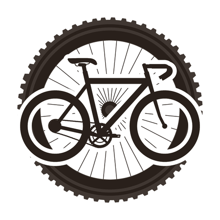 Racing bicycle with wheel illustration design.