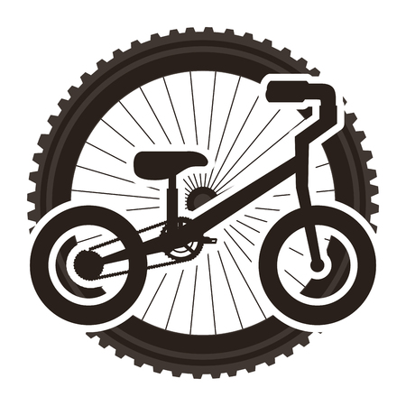 Mountain bicycle with wheel vector illustration design