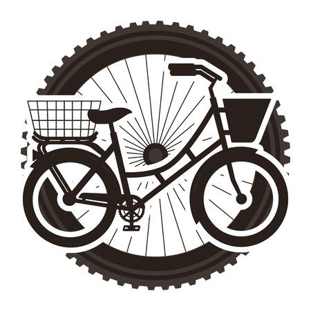 ホイール背景ベクトルイラストデザインのバスケット付きアンティーク自転車